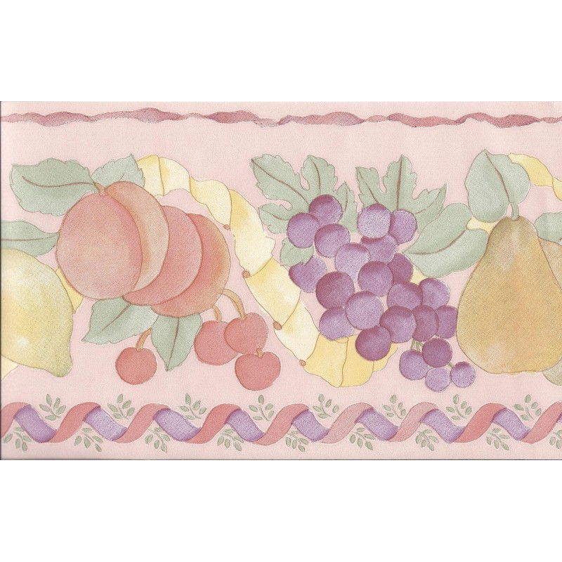 Home Fruit Vinyl Wallpaper Border in Pink 561811 by Coloroll 800x800