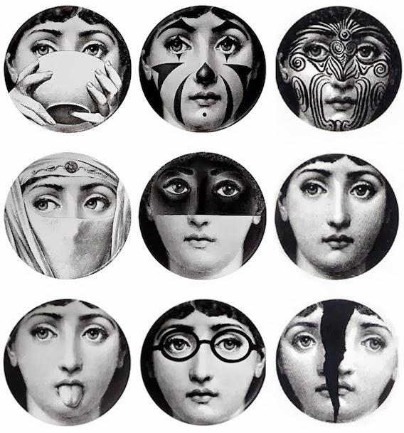 568x609px Fornasetti Faces Wallpaper
