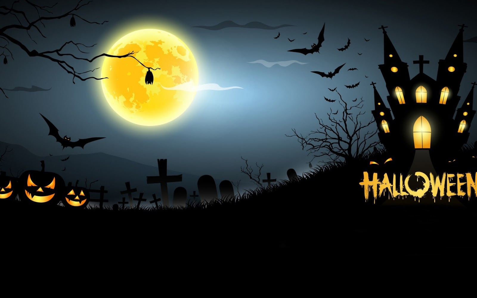Halloween full moon hd wallpapers images pics for PC 1600x1000