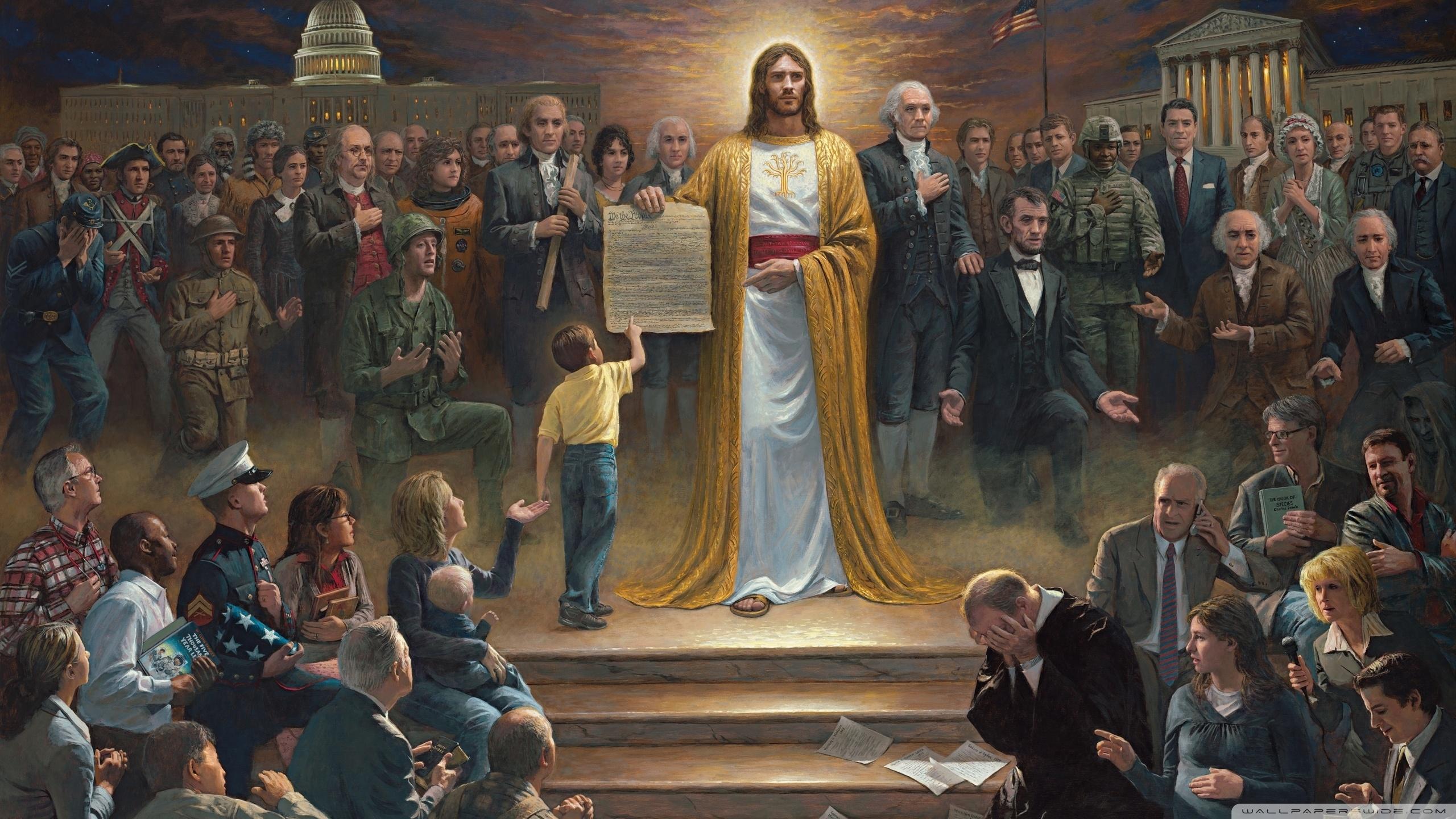 Jesus Founding Fathers wallpaper   1439106 2560x1440