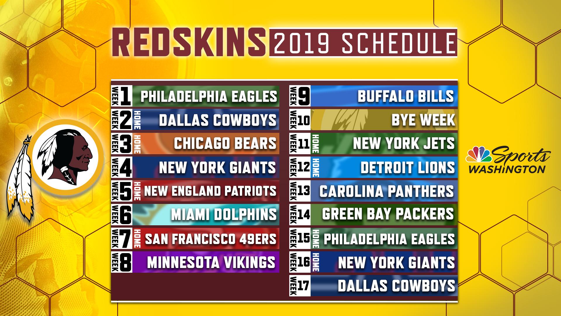 Redskins release official 2019 regular season schedule NBC 1920x1080