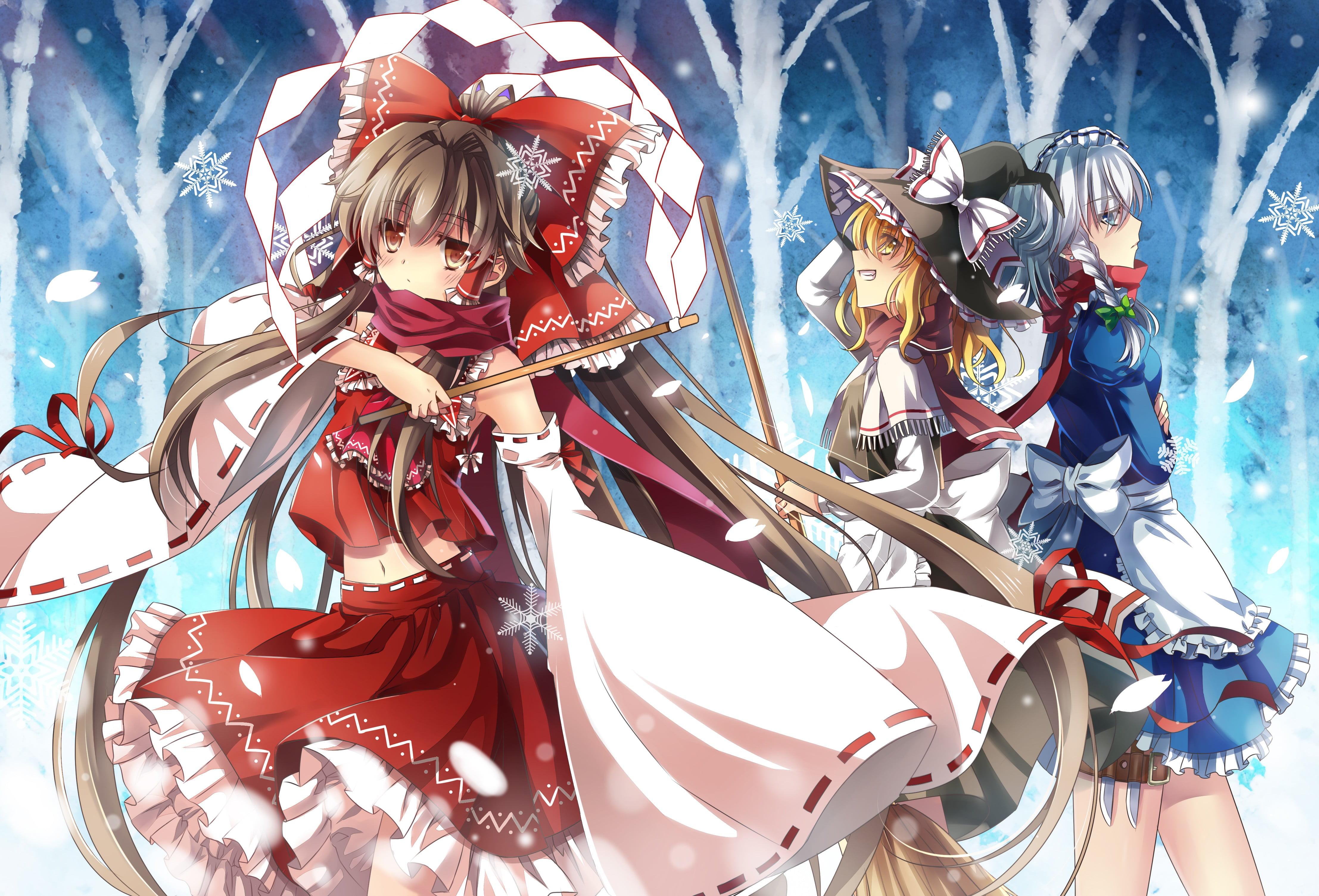 Red and white floral print textile Touhou Hakurei Reimu 4429x3011