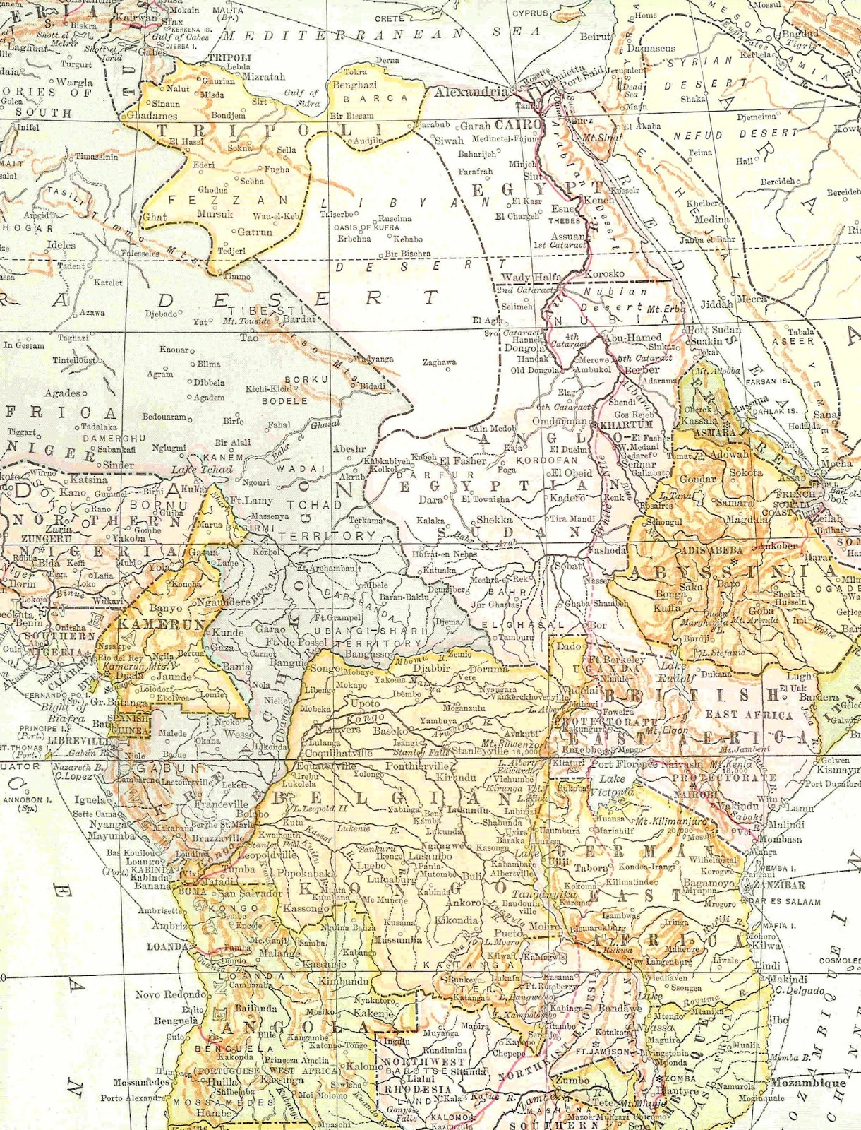 Digital Map Background Vintage Map of Africa Printable 1220x1600