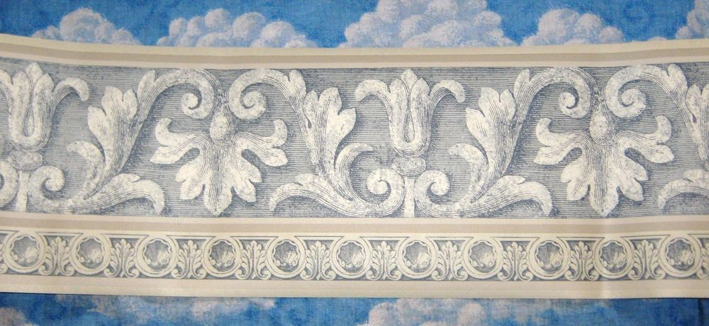 Neat Design Wallpaper Border Blue Gray White eBay 1000x460