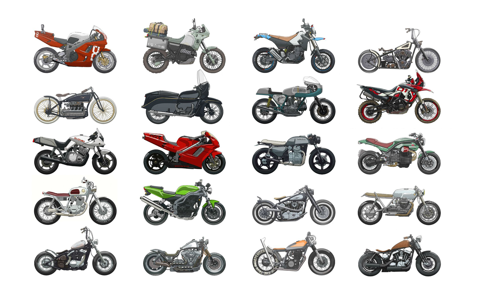 Download Different types of motorcycles wallpaper 1920x1200