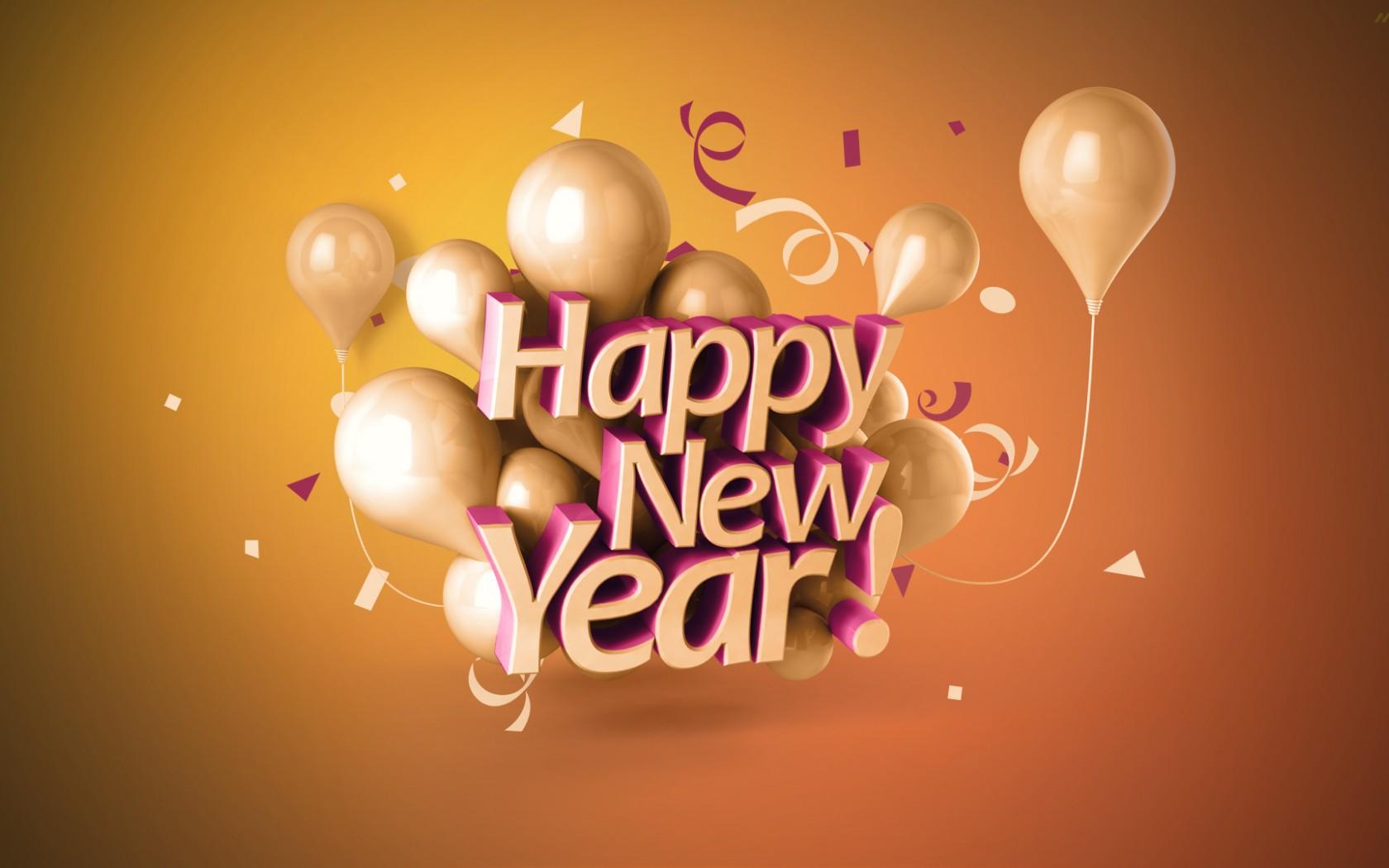 D Happy New Year wallpaper 1680x1050
