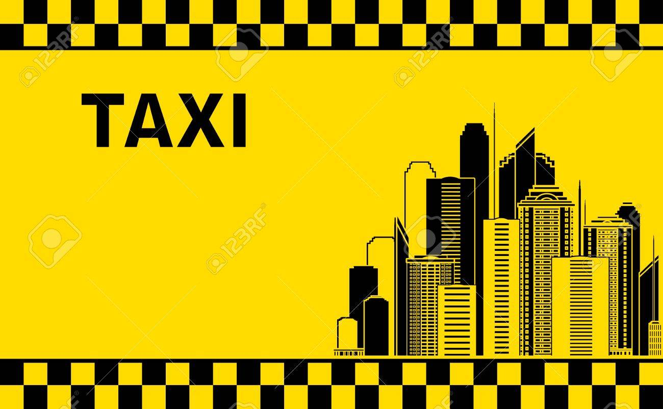 Taxi Background With City Landscape And Skyscrapers Royalty 1300x802
