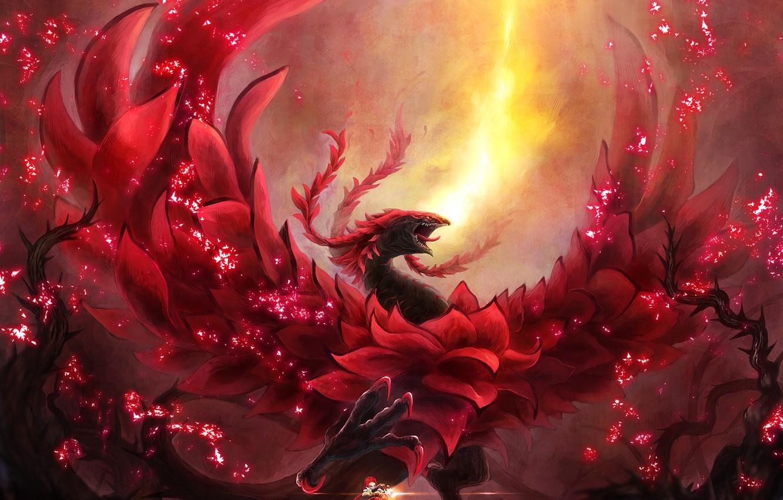 Wallpaper girl fire magic dragon anime art Yu Gi Oh of 1332x850