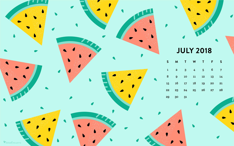 July 2018 Watermelon Calendar Wallpaper   Sarah Hearts 3001x1876
