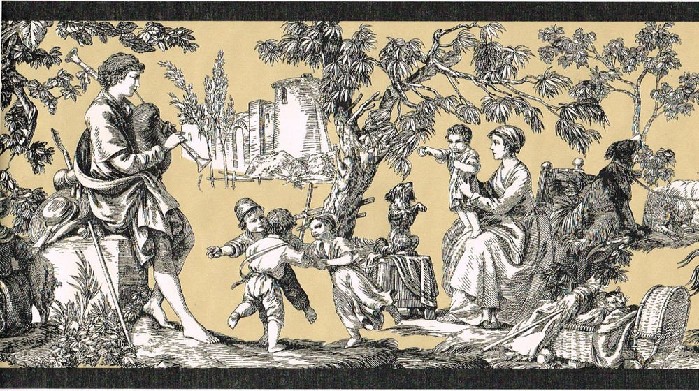 Colonial French Black Tan Toile Country Scene Wallpaper Border 1000x560