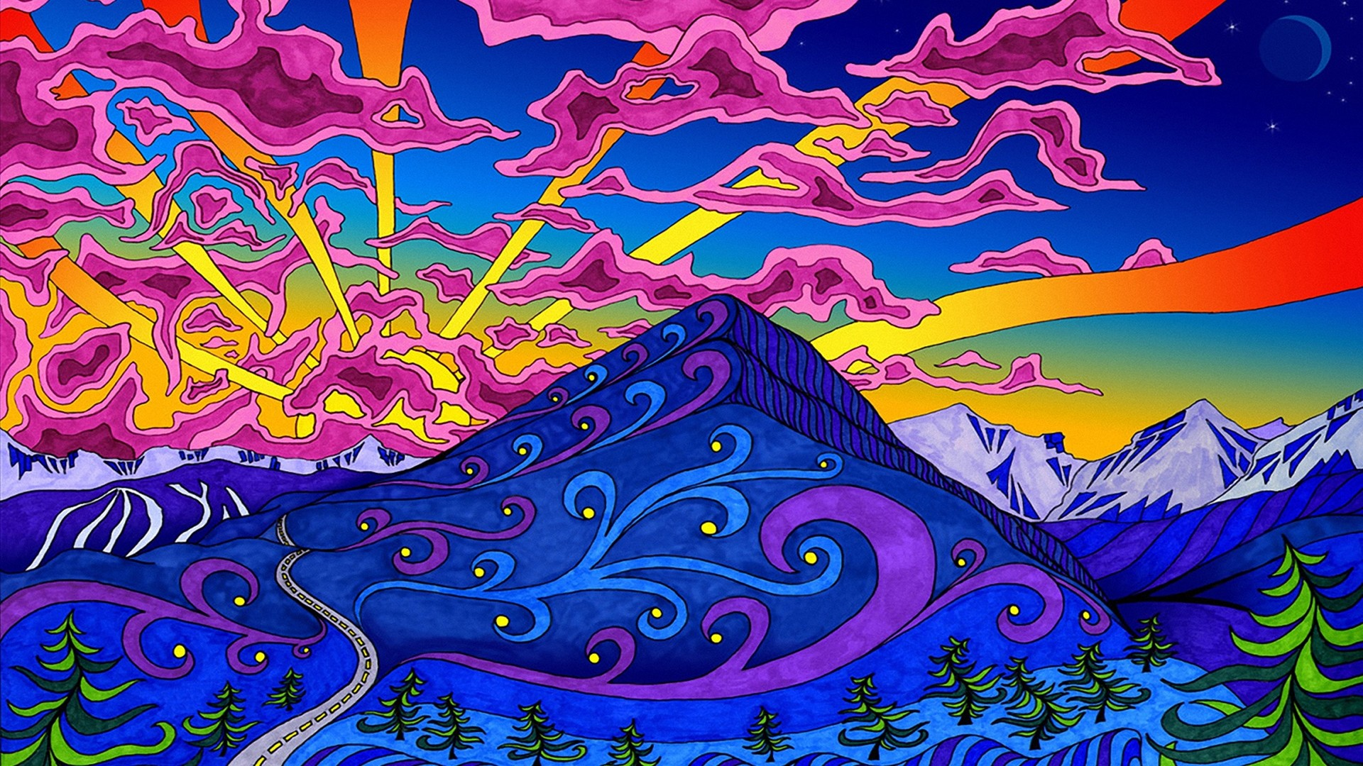 Mountains landscapes psychedelic artwork colors wallpaper 1920x1080 1920x1080