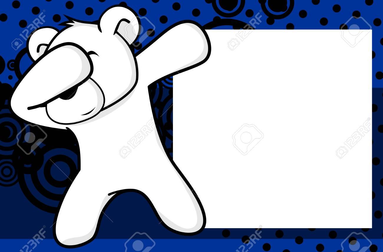 Dab Dabbing Pose Polar Bear Kid Cartoon Picture Frame Background 1300x857