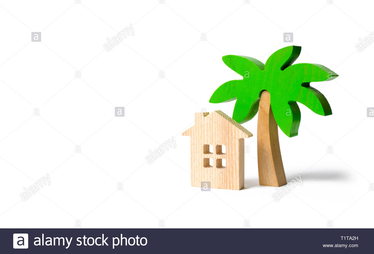 Wooden palm tree and hut on an isolated background Conceptual 1300x882