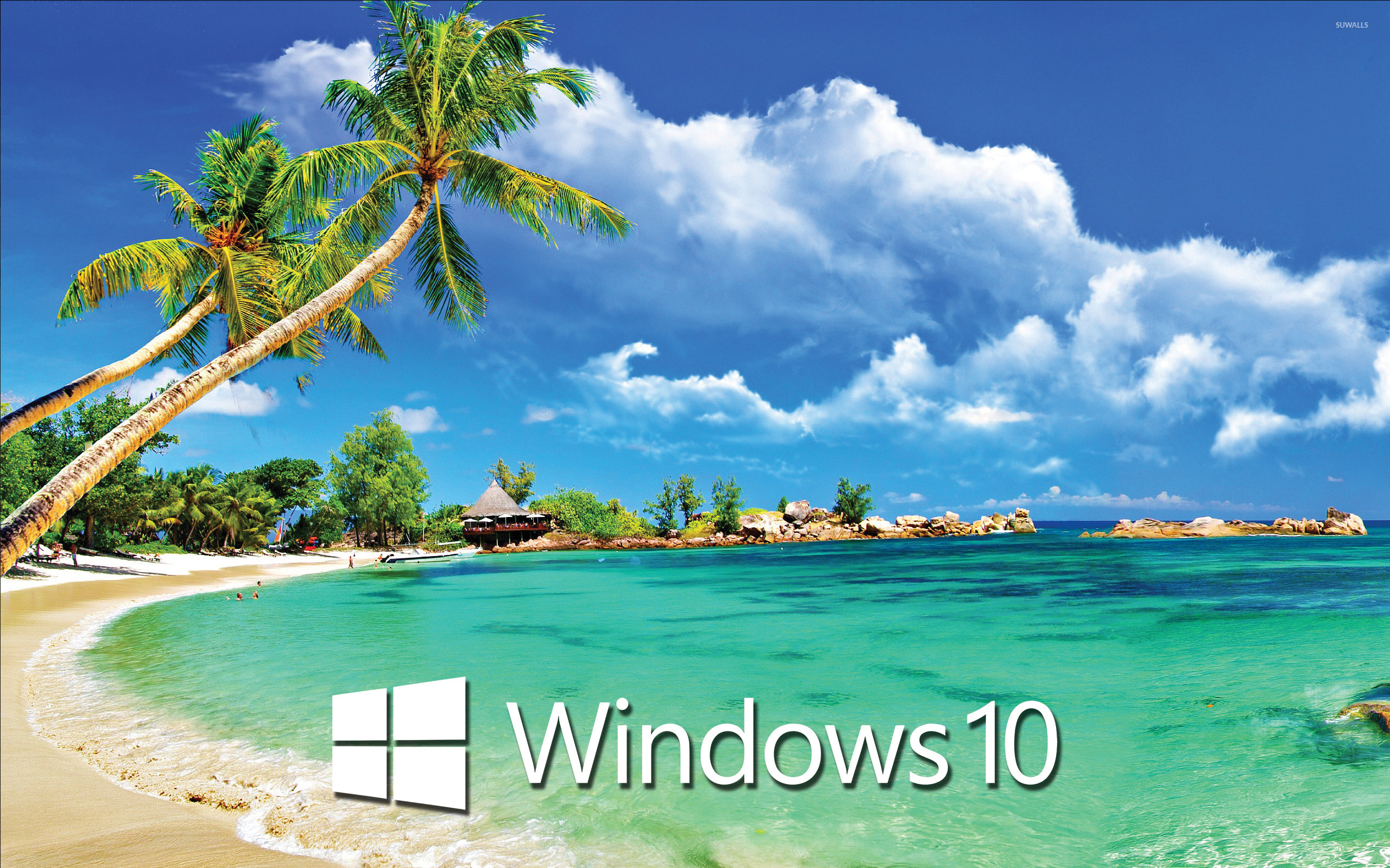 Windows 10 text logo on a tropical beach wallpaper 1680x1050 1680x1050