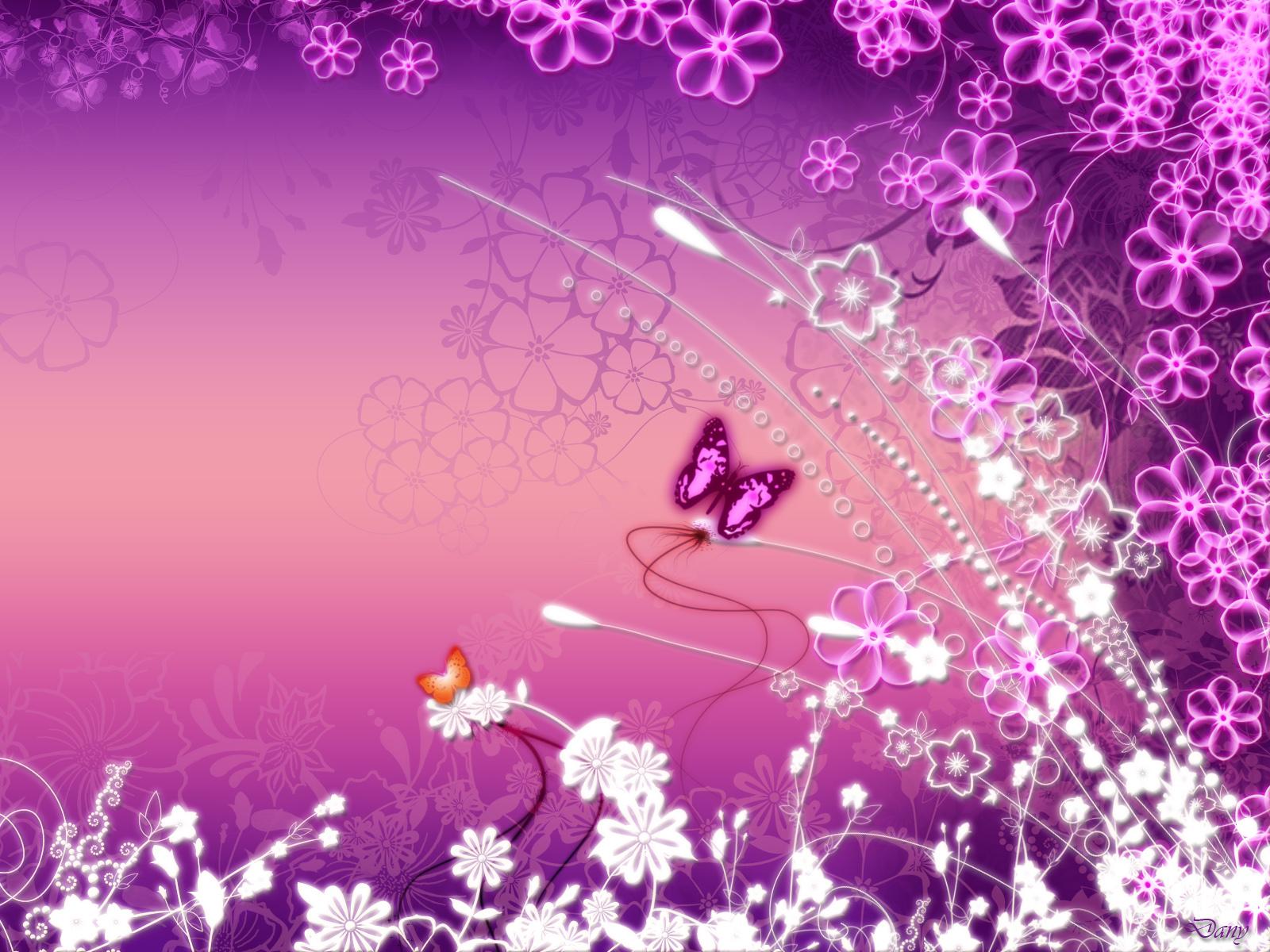 Pink Butterfly Garden desktop wallpaper 1600x1200