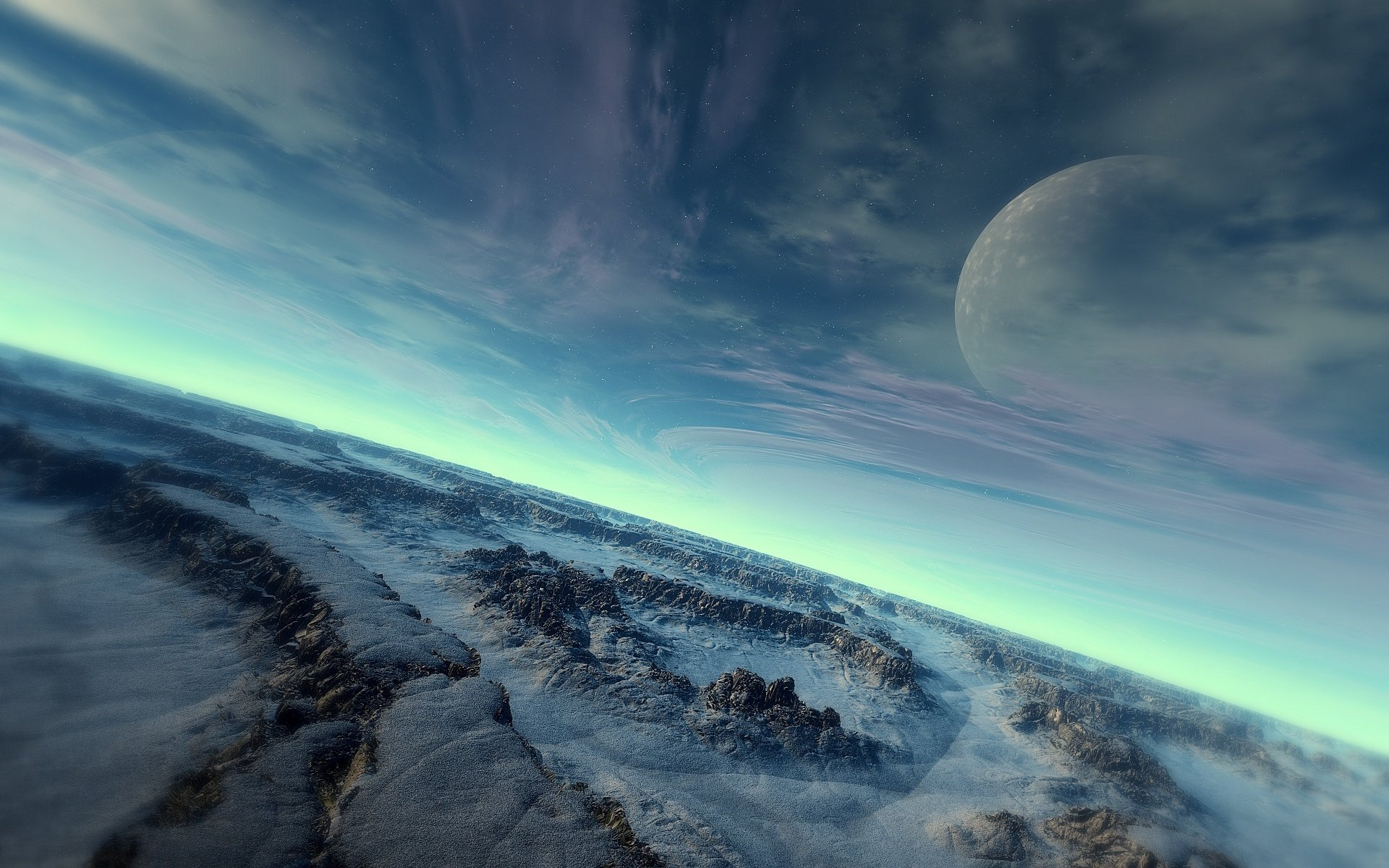 Wallpaper science fiction planet landscape wallpapersafari for Space landscape
