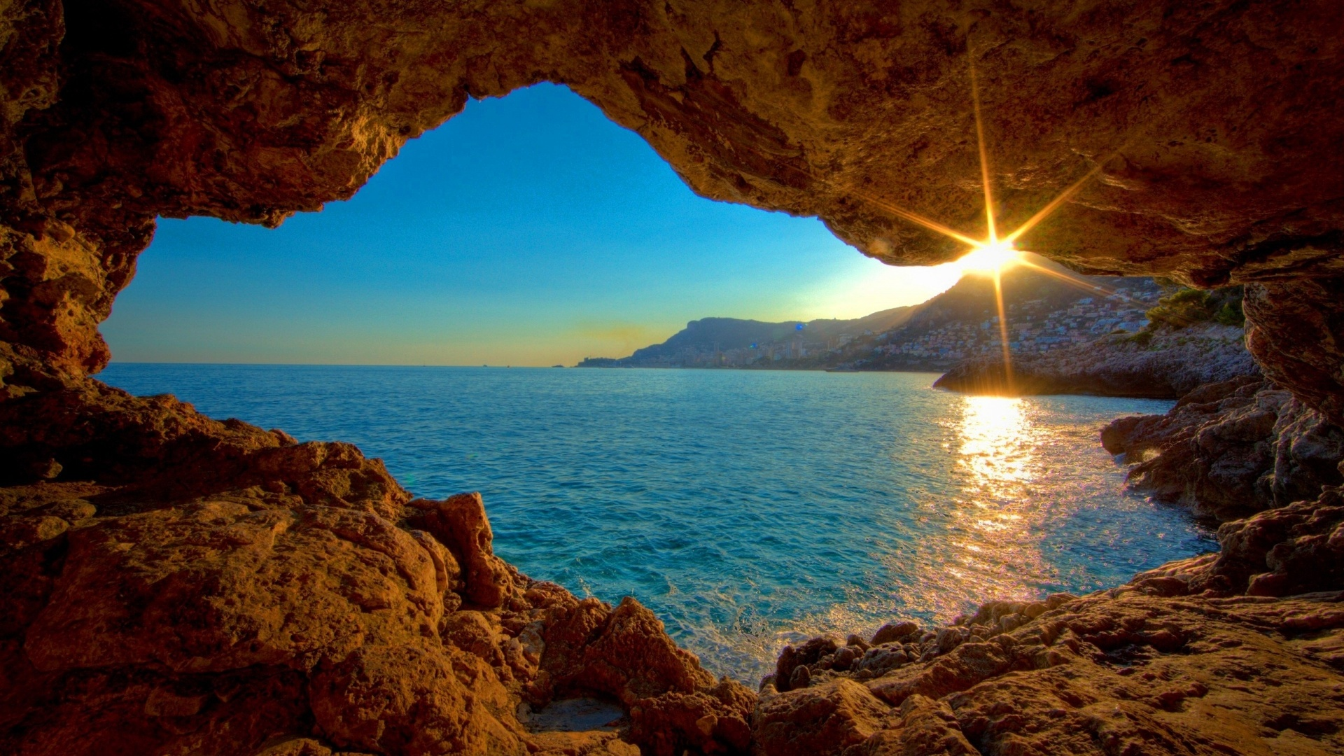 1920x1080 Sunrise Ocean Cave desktop PC and Mac wallpaper 1920x1080