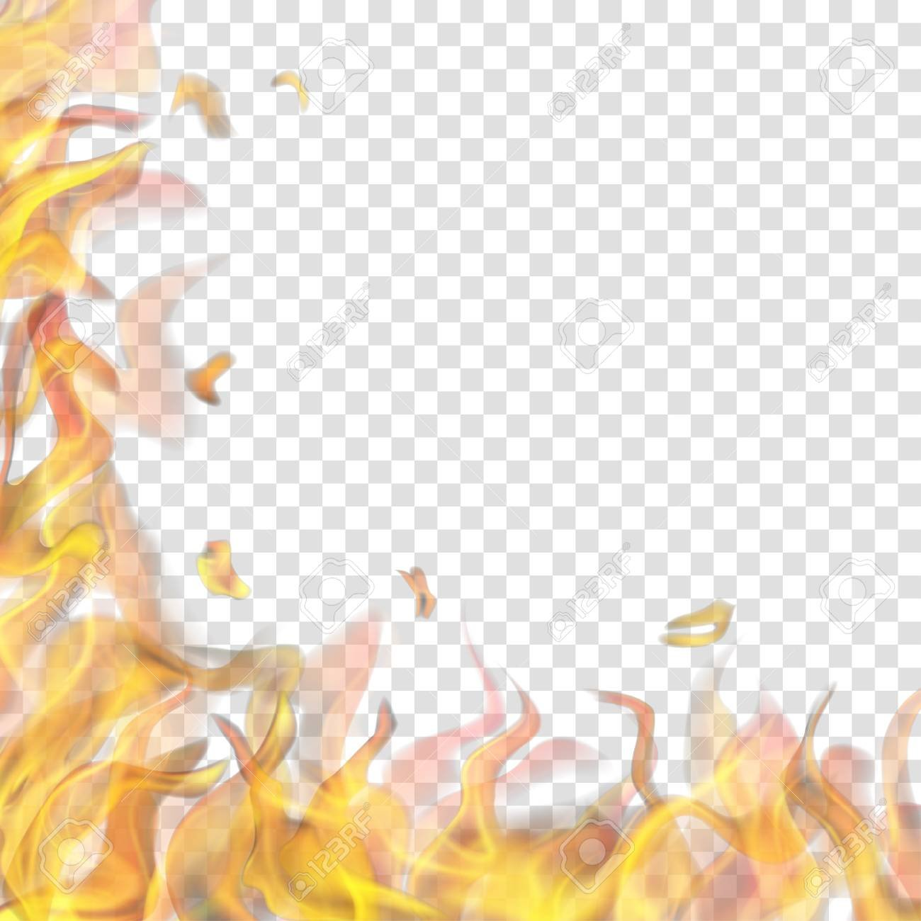 Translucent Fire Flame On Left And Below On Transparent Background 1300x1300