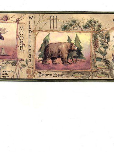 Trout Bear Hunting Fishing Brown Sage Green Gold Wallpaper Border 375x500