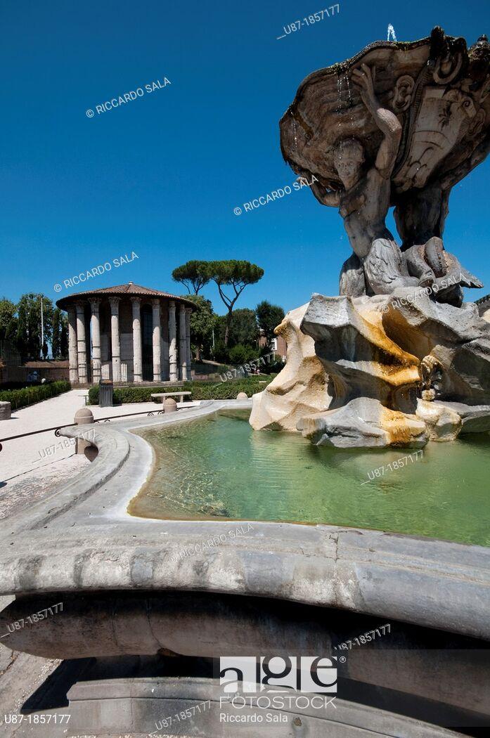 Italy Lazio Rome Bocca della Verit Square Triton Fountain by 697x1050