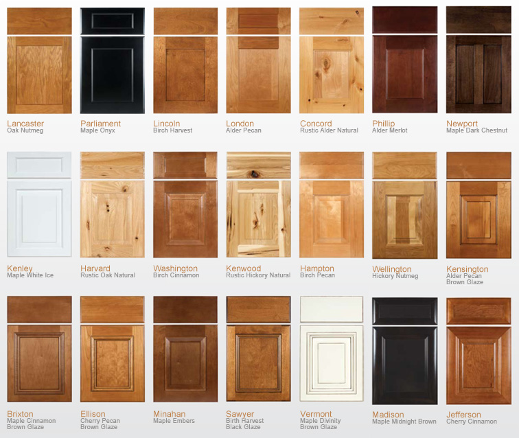 Sampling of Our Available Semi Custom Door Styles and Finishes 756x638