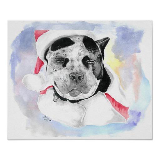Christmas Pitbull Posters Zazzle 512x512