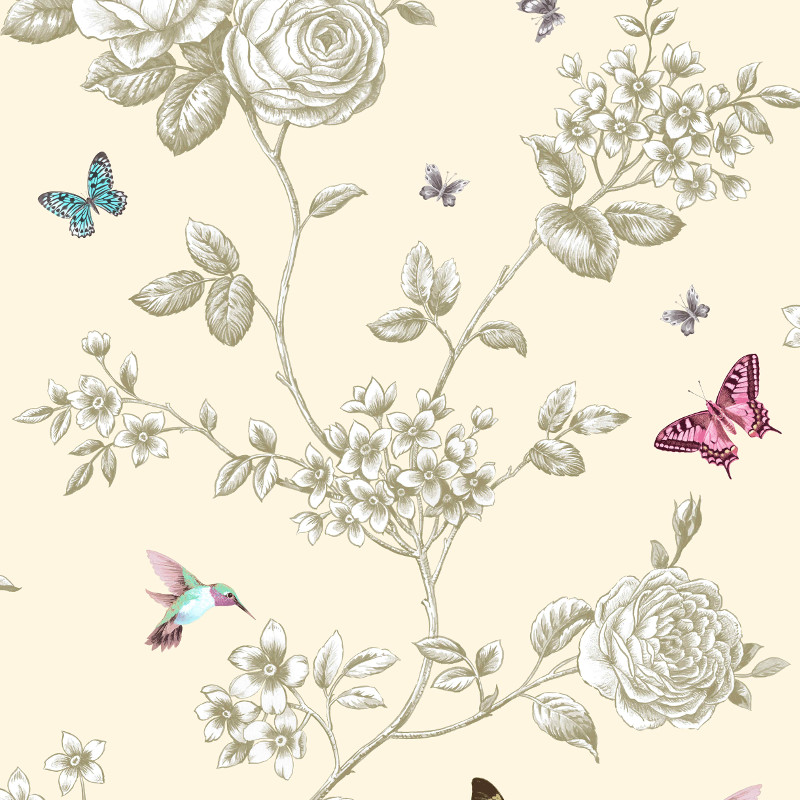 Grandeco Rose Garden Bird and Butterfly Wallpaper in Cream - A14601
