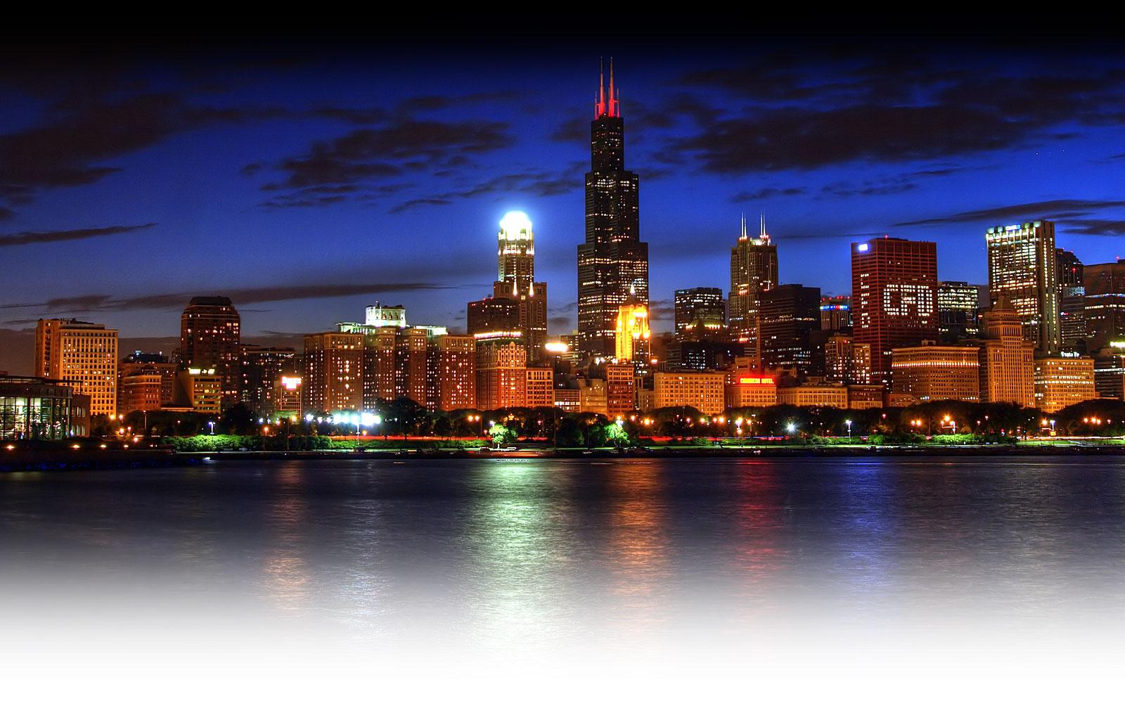 Chicago night skyline wallpaper wallpapersafari - Skyline night wallpaper ...