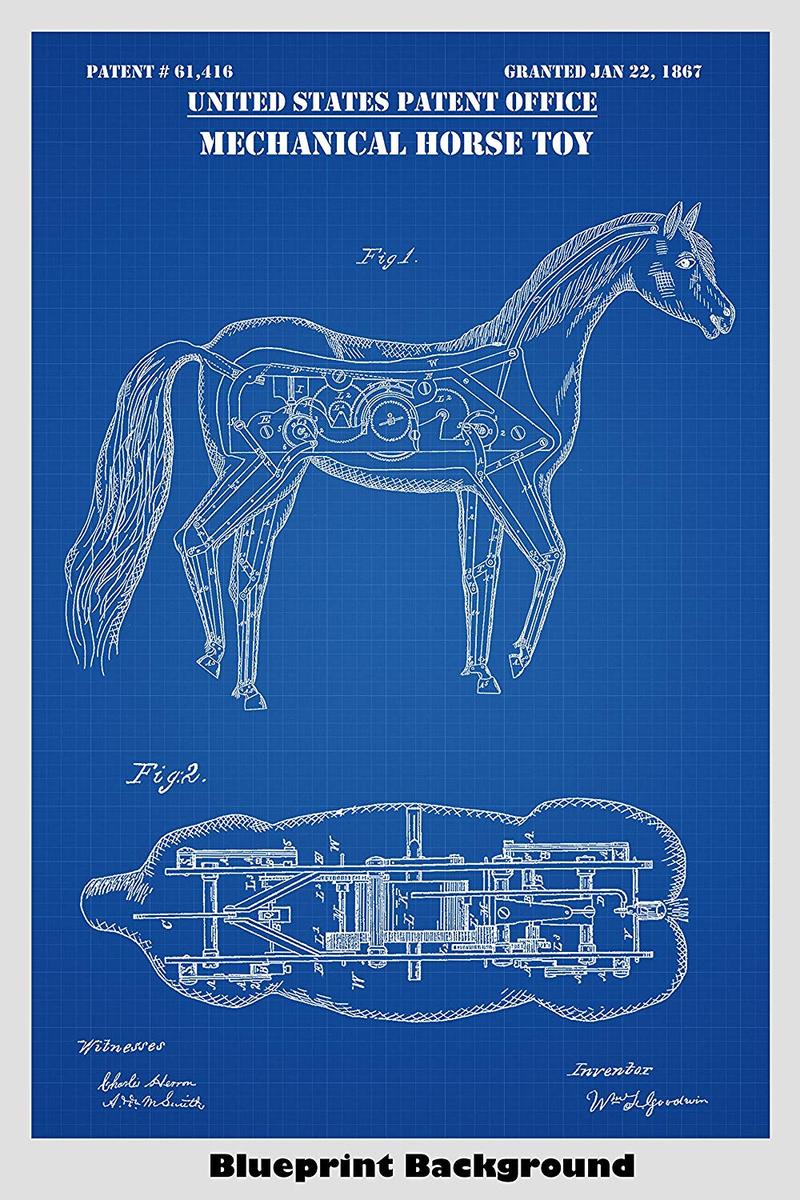 Mechanical Horse Poster Patent Print Art Poster Patent Prints 800x1200