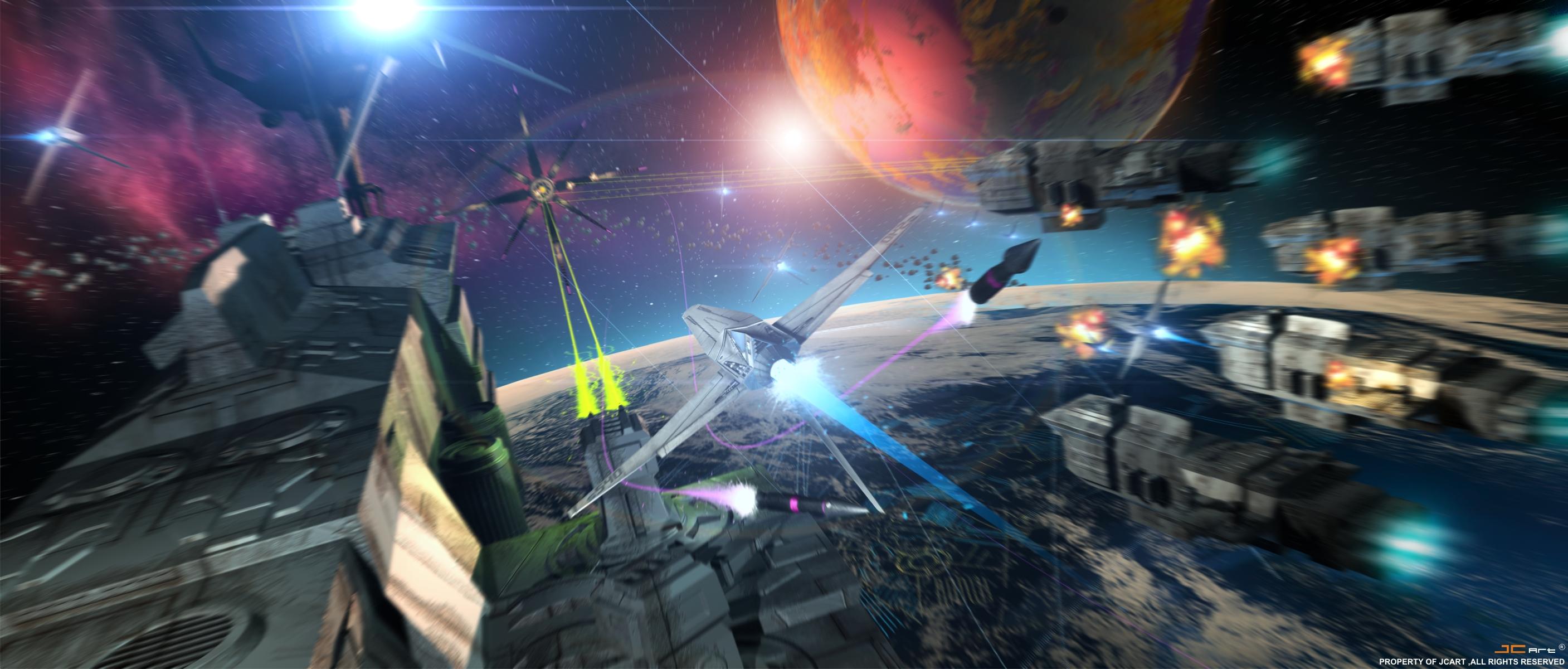 Space Battle Wallpaper 2814x1200 Space Battle Scene By Genesisa 2814x1200