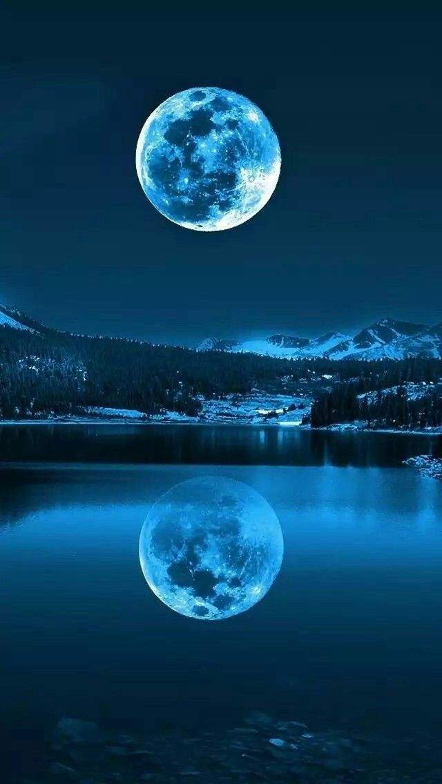 Blue Moon over Water Wallpaper Drawings in 2019 Moon pictures 640x1136