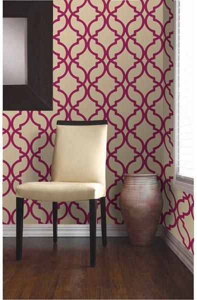 Pink Trellis Wallpaper Decadance by Brewster Wallcovering 394x600