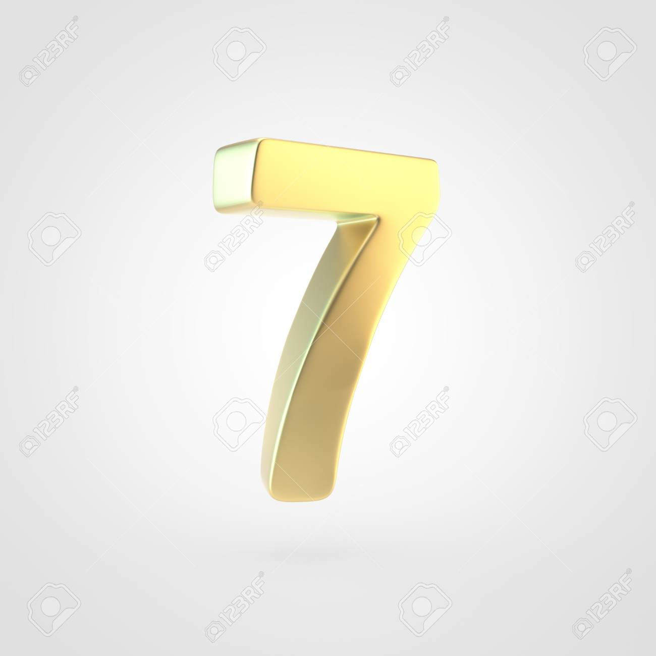 Golden Number 7 3D Rendering Of Matted Golden Font Isolated 1300x1300