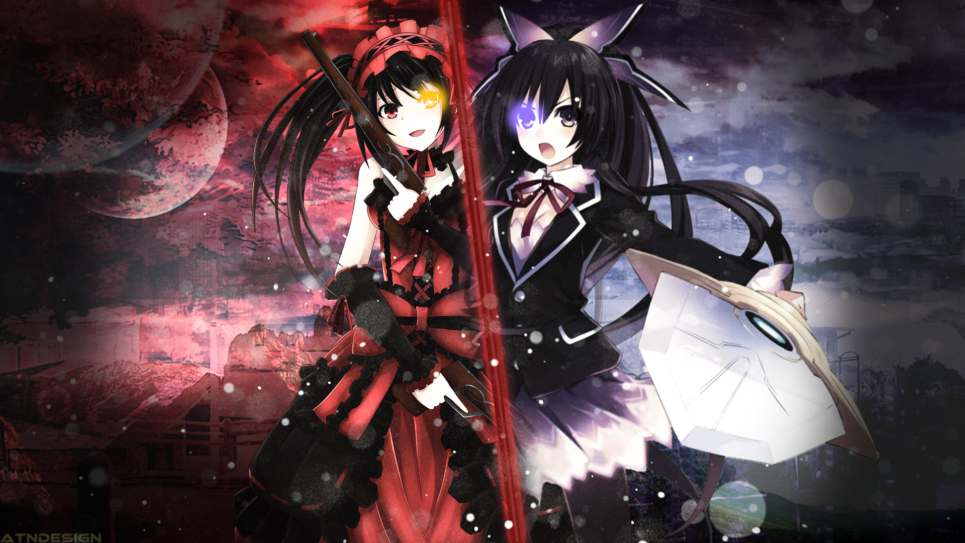 date a live wallpaper thoka and kurumi by ponydesign0 d81o666jpg 1920x1080