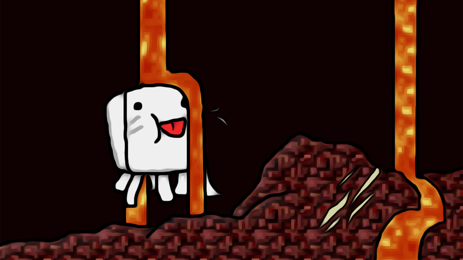 Somebody asked for a background with my Derpy Ghast Minecraft 1920x1080