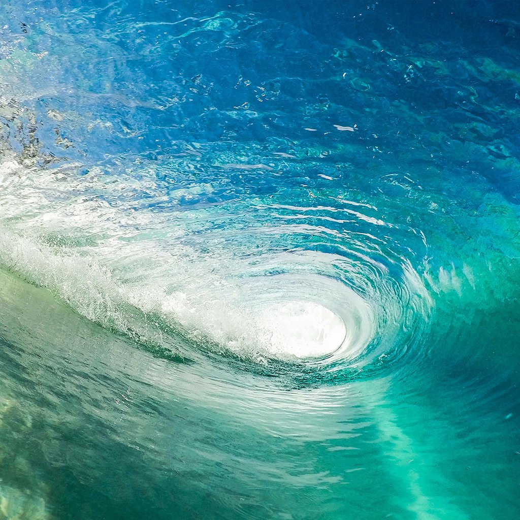 Wave Cool Summer Vacation Ocean Blue Green iPad Wallpapers 1024x1024