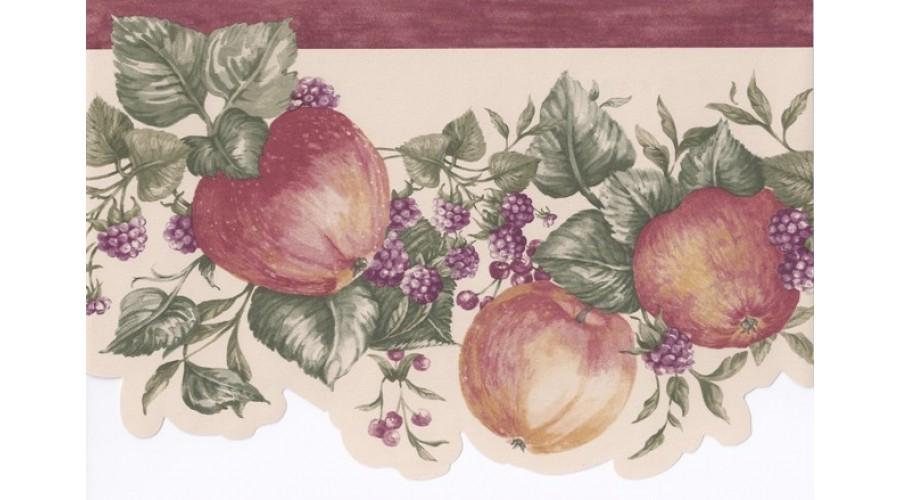 Home Bordo Cream Apple Raspberry Branches Wallpaper Border 900x500