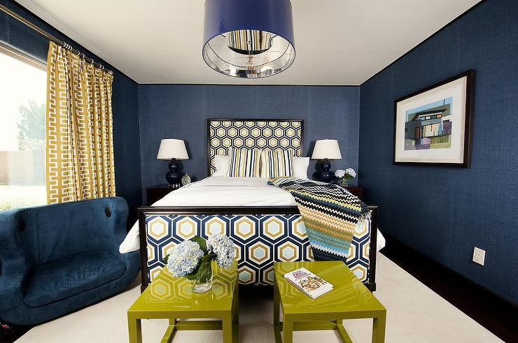 Navy blue and yellow wallpaper wallpapersafari for Navy blue wallpaper for walls