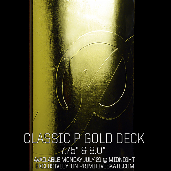 Primitive Skateboarding is dropping the Classic P Gold Team deck on 590x590