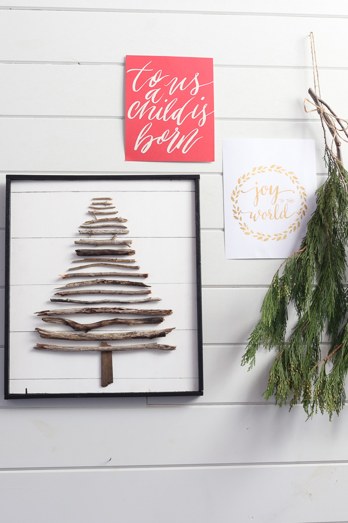 DIY Twig Tree with Faux Shiplap Background 682x1024