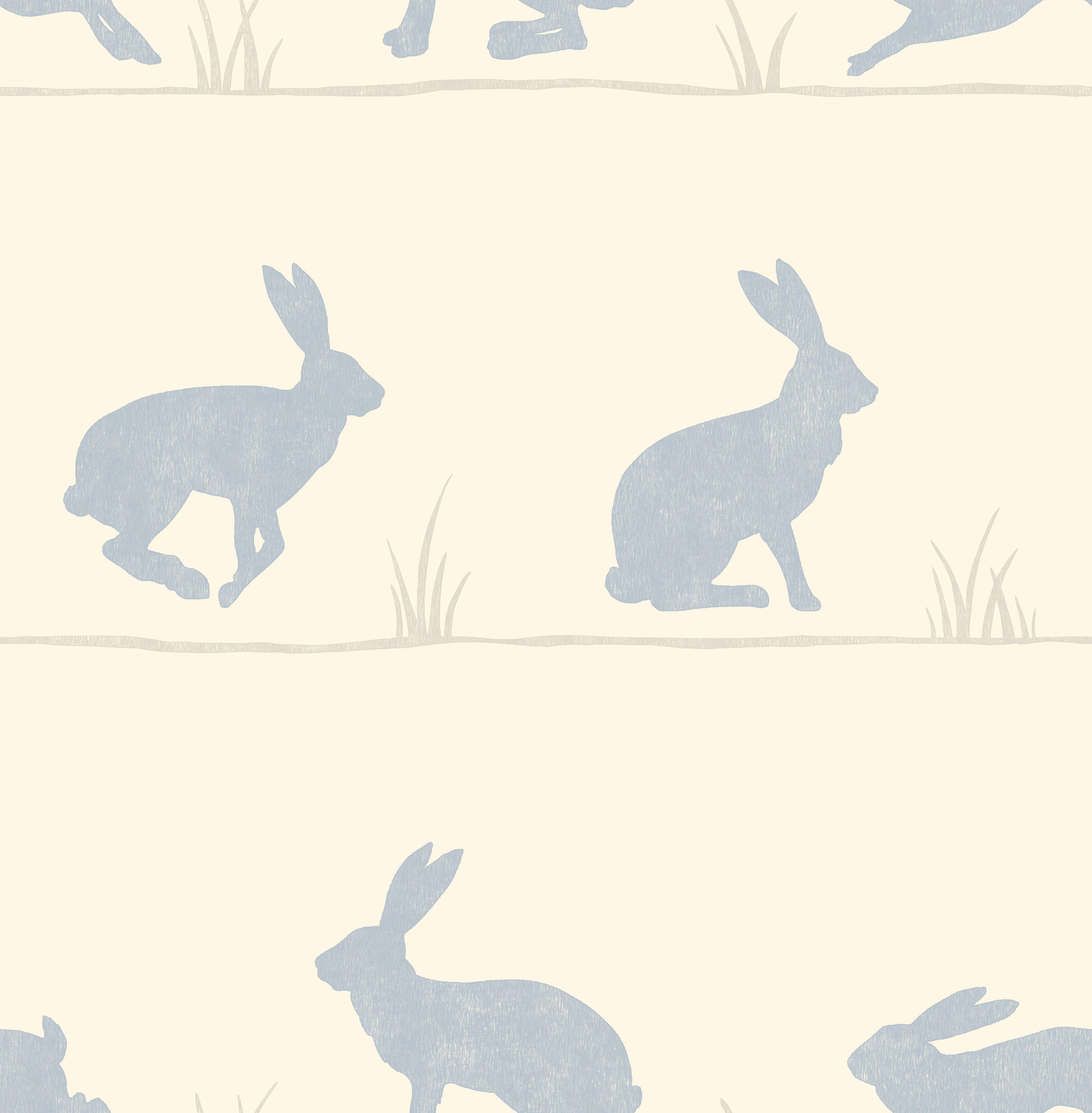 Nell Nordic Blue Rabbit Wallpaper Departments DIY at BQ 3925x4000