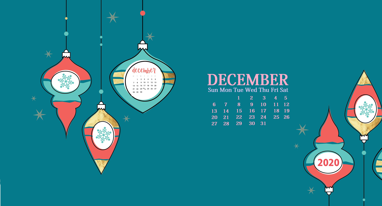 Cute December 2020 Calendar Desktop Wallpaper Calendar wallpaper 2720x1468