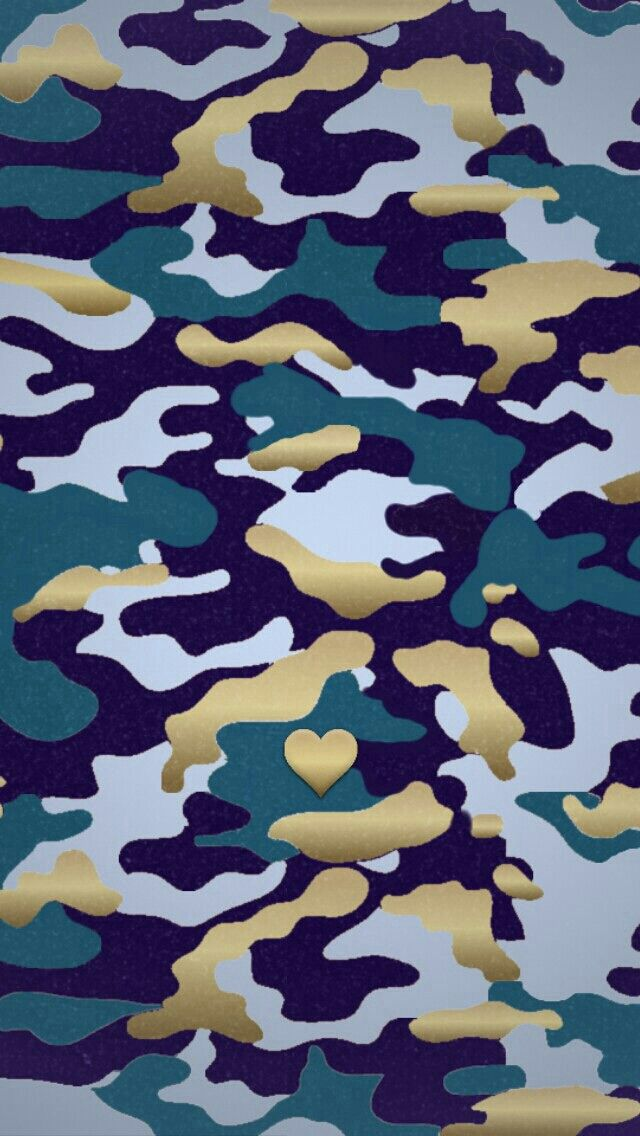Navy Blue gold heart Camoflage camo iphone phone background wallpaper 640x1136