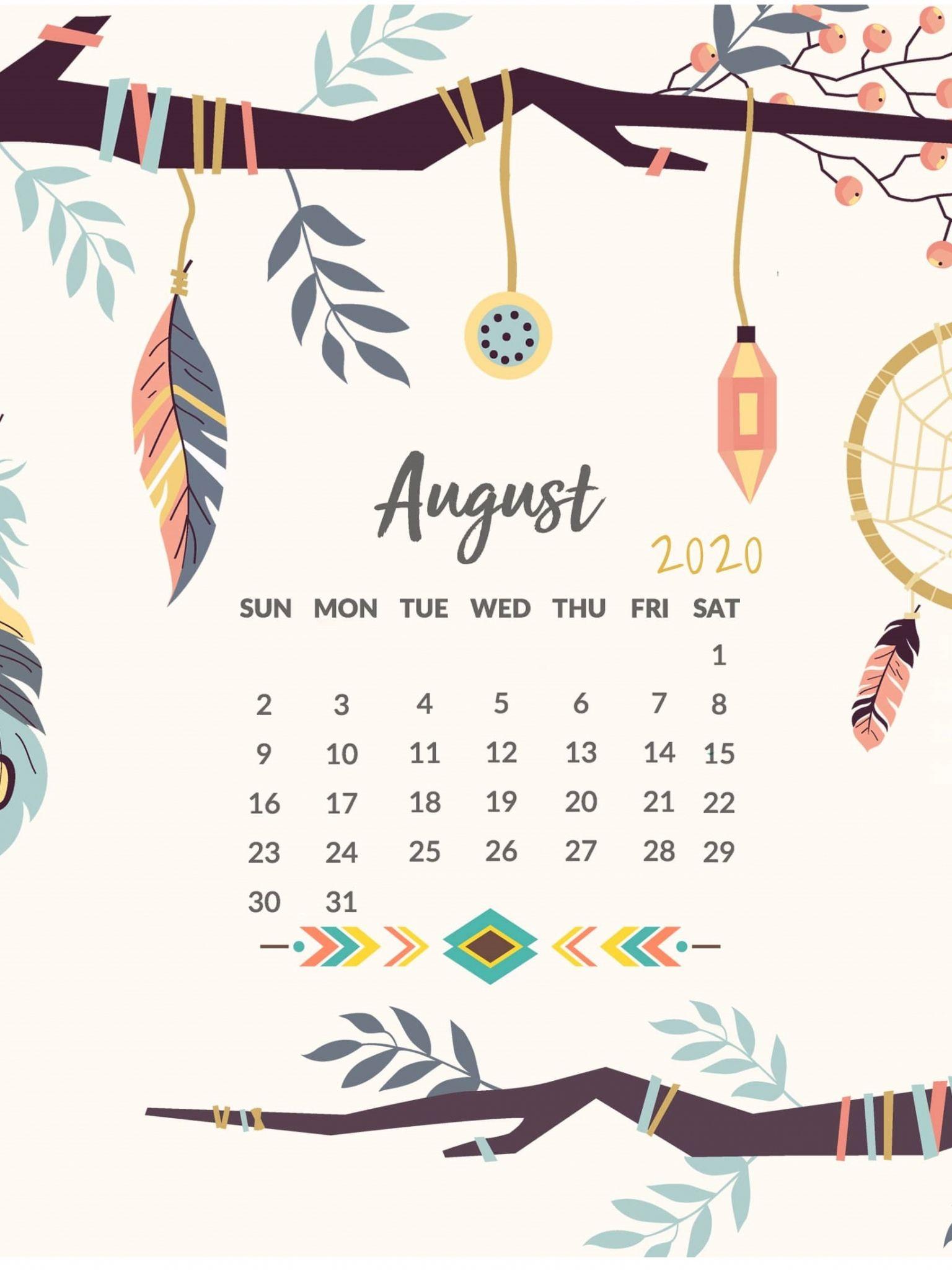 August 2020 Calendar Wallpaper for iPhone Calendar wallpaper 1536x2048