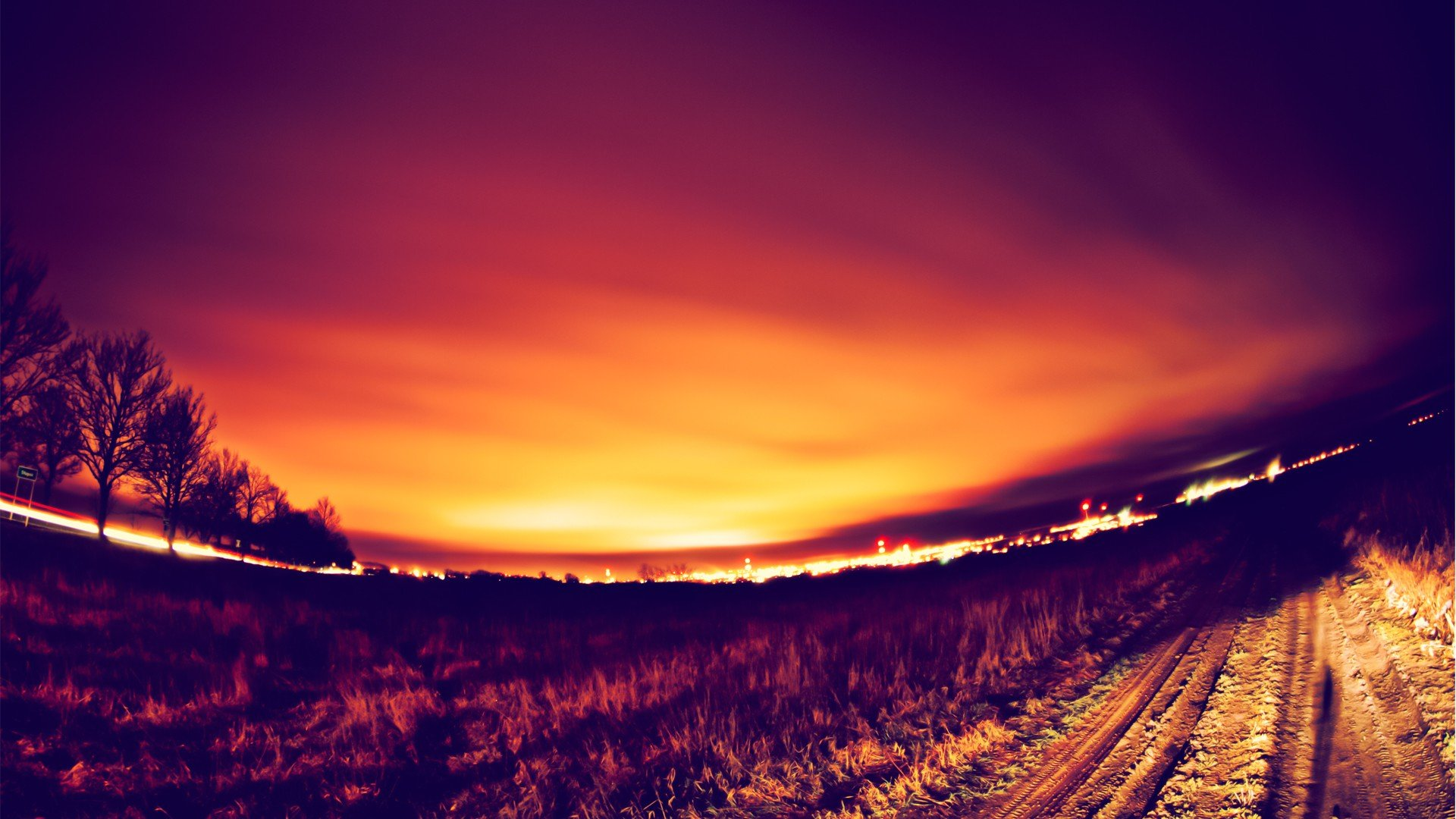 roads fisheye effect depth of field photo filters wallpaper background 1920x1080