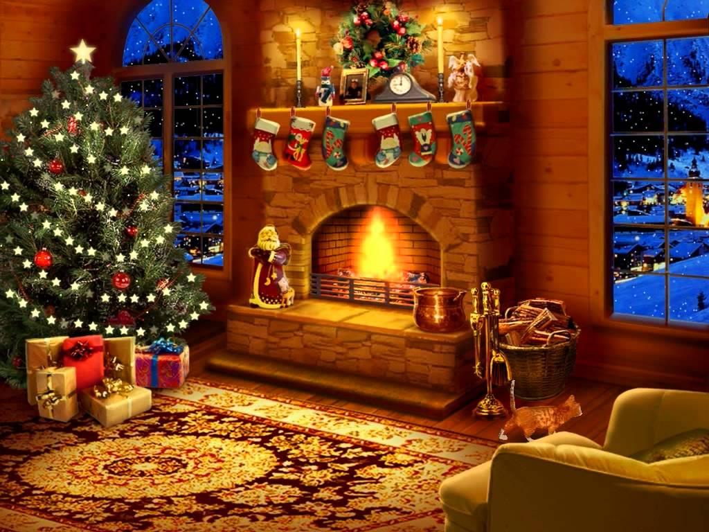 Animated Christmas Fireplace Screensaver 1024x768