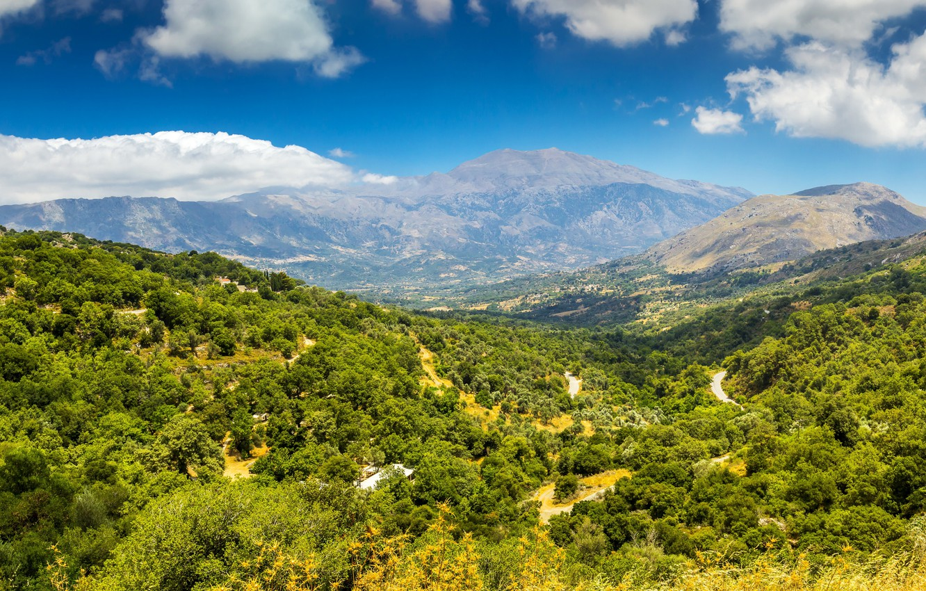 Wallpaper forest the sky clouds mountains island Greece 1332x850