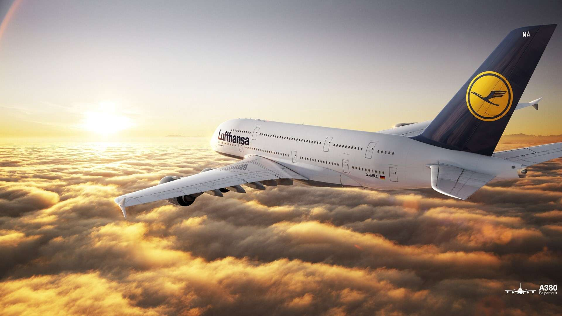 Airbus A380 Lufthansa Sunset HD Wallpaper FullHDWpp   Full HD 1920x1080