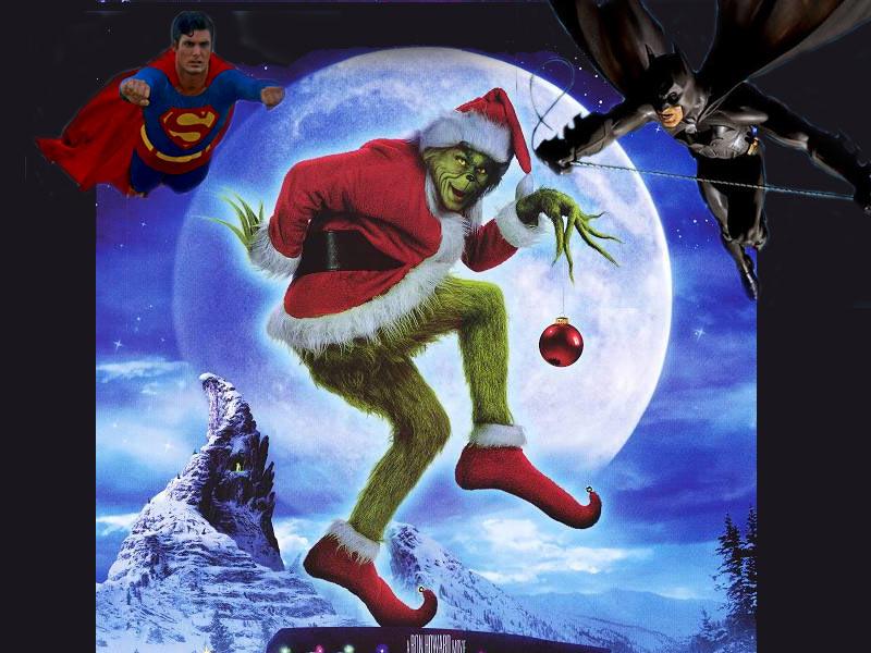 superman and batman vs the grinch back to christmas wallpaper 800x600