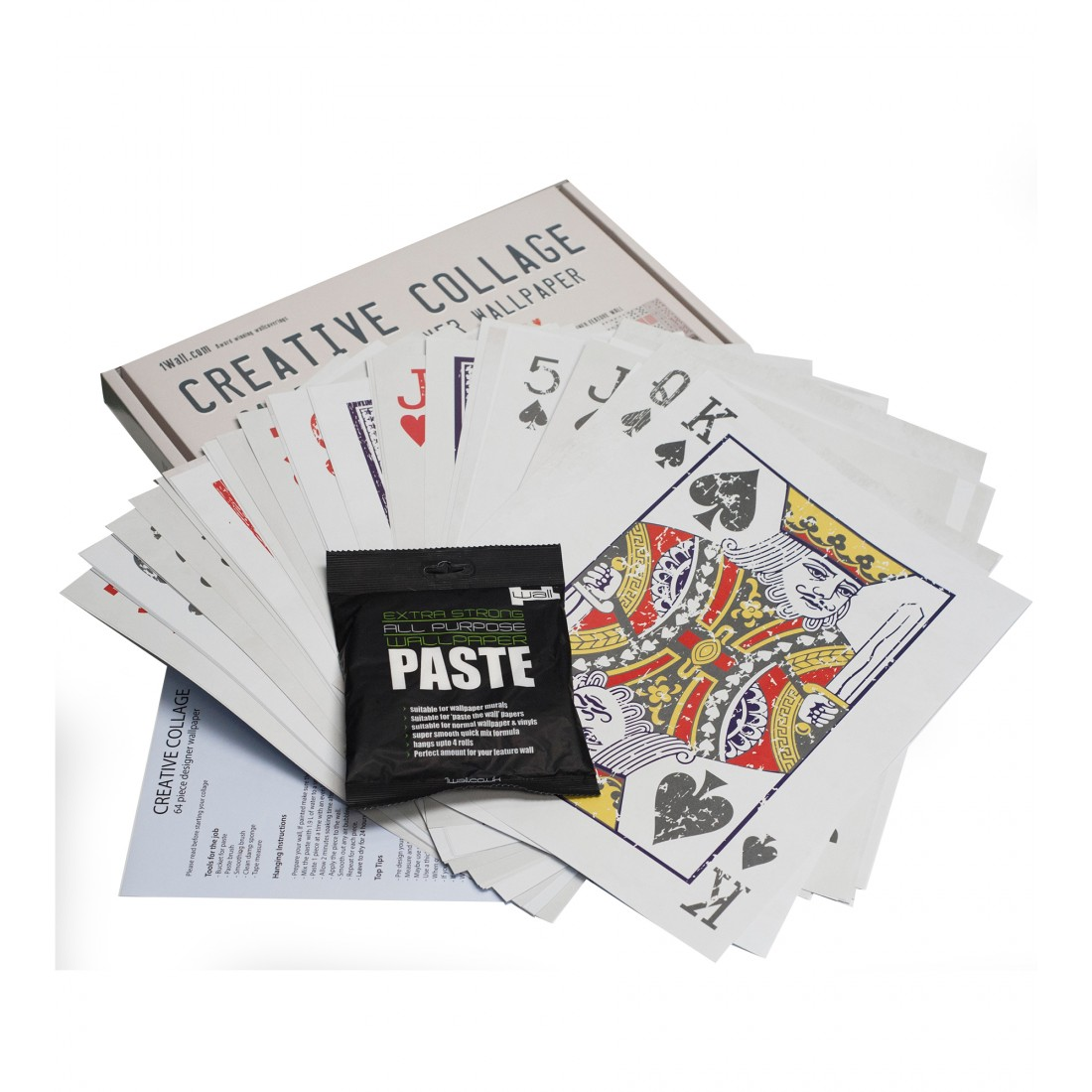 Playing Cards Creative Collage Wallpaper 64 pieces 1Wall 1100x1100